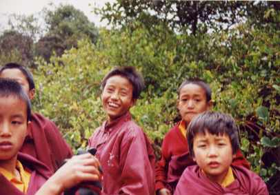 Child monks studying me and laughing at how strange I looked to them, high in the mountains of Sikkum near Tibet.