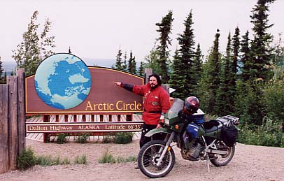 At the Arctic Circle sign.